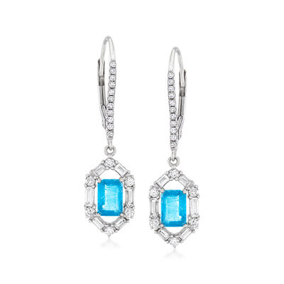 5.20 ct. t.w. Sky Blue and White Topaz Sun Drop Earrings in Sterling Silver