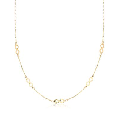 Italian 14kt Yellow Gold Infinity Station Link Necklace, , default