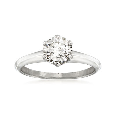 C. 1970 Vintage .98 Carat Diamond Engagement Ring in 18kt White Gold, , default