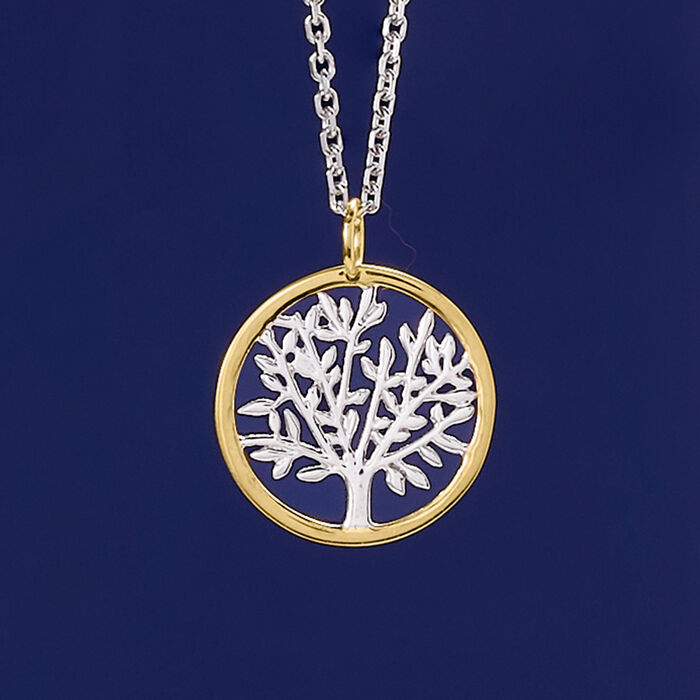 Sterling Silver and 14kt Yellow Gold Tree of Life Pendant Necklace