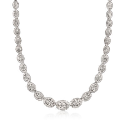 2.00 ct. t.w. Pave Diamond Graduated Oval Necklace in Sterling Silver, , default