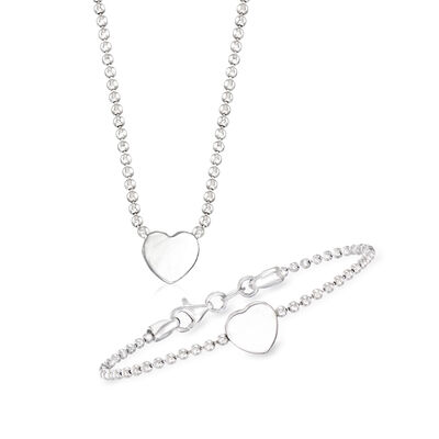 Child's Italian Sterling Silver Set: Heart Necklace and Bracelet, , default