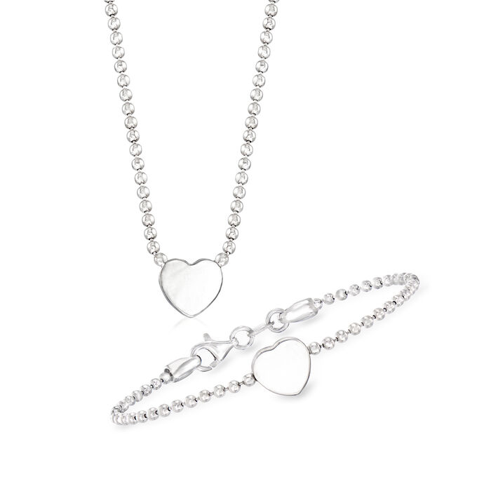 Child's Italian Sterling Silver Set: Heart Necklace and Bracelet. 15""