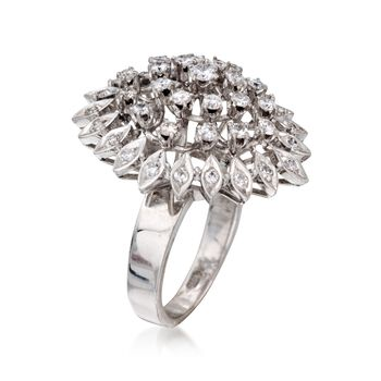 C. 1970 Vintage 1.00 ct. t.w. Diamond Cluster Cocktail Ring in 14kt White Gold. Size 6.25, , default