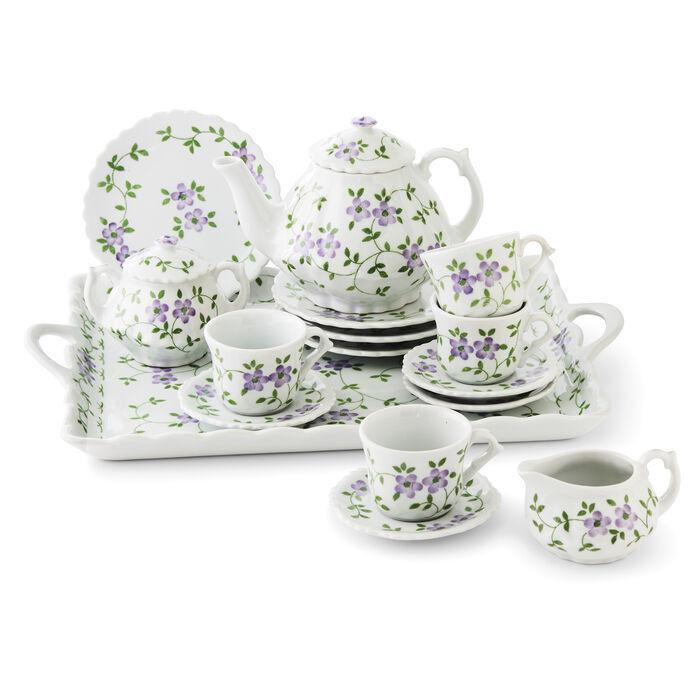 Child's Porcelain Violet Flower 16-pc. Tea Set