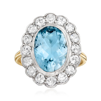 C. 1950 Vintage 3.00 Carat Aquamarine and 1.30 ct. t.w. Diamond Ring in Platinum and 14kt Yellow Gold, , default