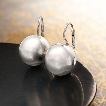 Italian 16mm Sterling Silver Bead Drop Earrings, , default