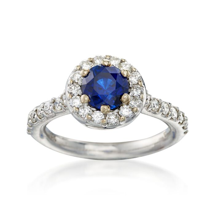 C. 1990 Vintage 1.50 Carat Sapphire and And .80 ct. t.w. Diamond Halo Ring in 14kt White Gold. Size 7, , default