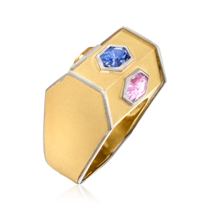 C. 1980 Vintage 1.80 ct. t.w. Multicolored Sapphire Hexagon Ring in 18kt Two-Tone Gold