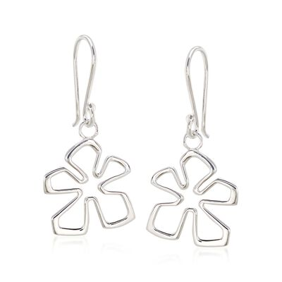 "Zina Sterling Silver Small ""Tiki"" Flower Drop Earrings, , default"