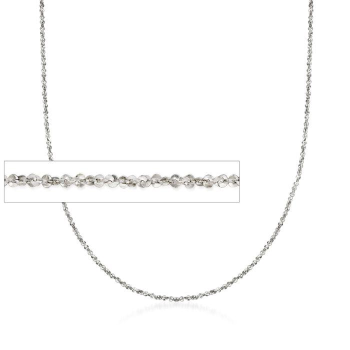 Italian 1mm 14kt White Gold Crisscross Chain Necklace, , default