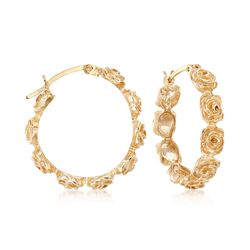 18kt Gold Over Sterling Silver Floral Hoop Earrings, , default