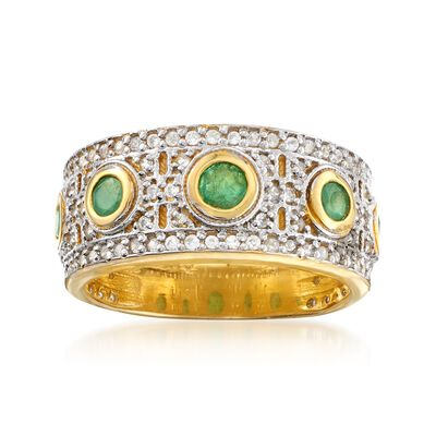 .90 ct. t.w. White Zircon and .70 ct. t.w. Emerald Ring in Two-Tone Sterling Silver, , default