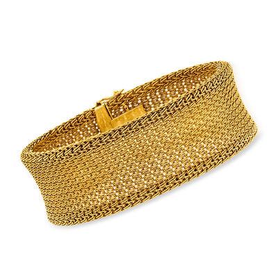 C. 1980 Vintage 18kt Yellow Gold Mesh Bracelet