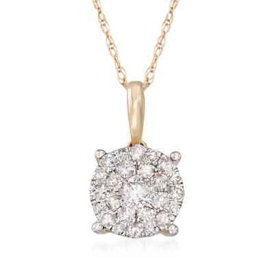 .50 ct. t.w. Pave Diamond Cluster Pendant Necklace in 14kt Yellow Gold, , default