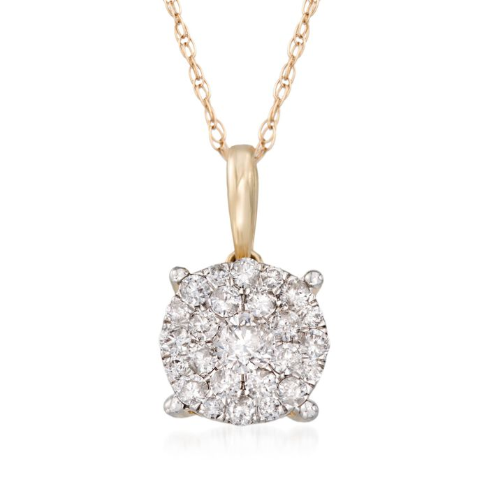 """.50 ct. t.w. Pave Diamond Cluster Pendant Necklace in 14kt Yellow Gold. 18"""""""