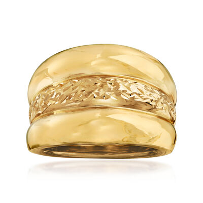 Italian 14kt Yellow Gold Triple-Row Ring