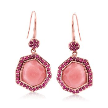 Pink Opal and 3.30 ct. t.w. Ruby Drop Earrings in 18kt Rose Gold Over Sterling Silver, , default