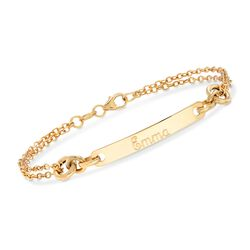 Italian 14kt Yellow Gold Name Bar ID Bracelet, , default