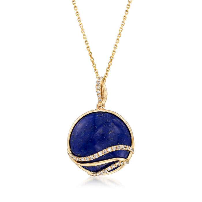 18x18mm Lapis and .20 ct. t.w. Diamond Pendant Necklace in 14kt Yellow Gold, , default