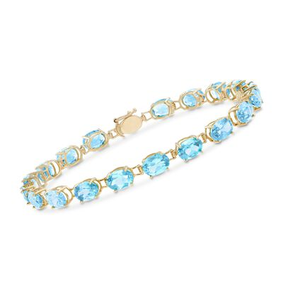 17.00 ct. t.w. Oval Swiss Blue Topaz Bracelet in 14kt Yellow Gold, , default
