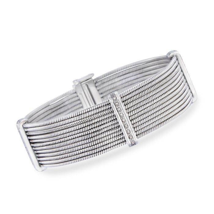 Stainless Steel and Sterling Silver Multi-Row Cable Bracelet with Diamond Accents, , default