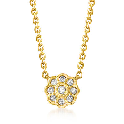 .10 ct. t.w. Diamond Flower Necklace in 18kt Gold Over Sterling