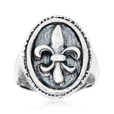 Italian Sterling Silver Fleur-De-Lis Ring, , default