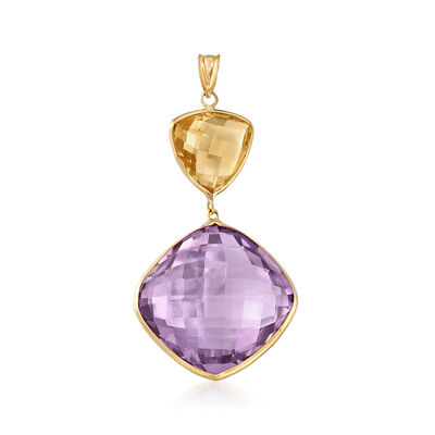 25.00 Carat Amethyst and 3.00 Carat Citrine Pendant in 14kt Yellow Gold