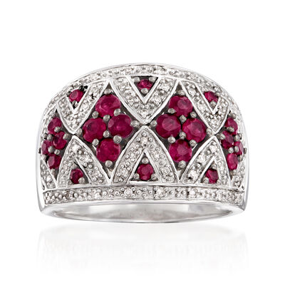 1.00 ct. t.w. Ruby and .10 ct. t.w. Diamond Dome Ring in Sterling Silver