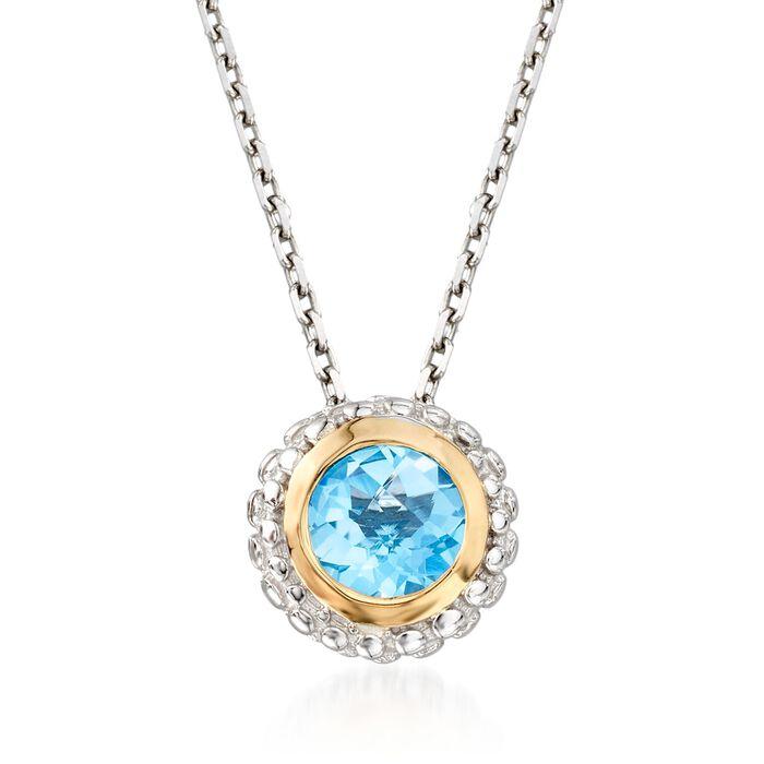 """Phillip Gavriel """"Popcorn"""" .49 Carat Blue Topaz Pendant Necklace in Sterling Silver and 18kt Gold. 18"""", , default"""