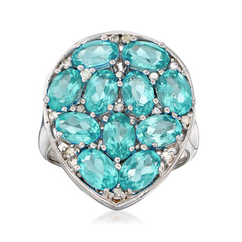 4.10 ct. t.w. Apatite and .13 ct. t.w. Diamond Cluster Ring in Sterling Silver, , default