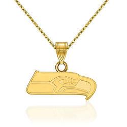 "14kt Yellow Gold NFL Seattle Seahawks Pendant Necklace. 18"", , default"
