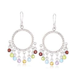 4.80 ct. t.w. Multi-Stone Open Circle Drop Fringe Earrings in Sterling Silver , , default