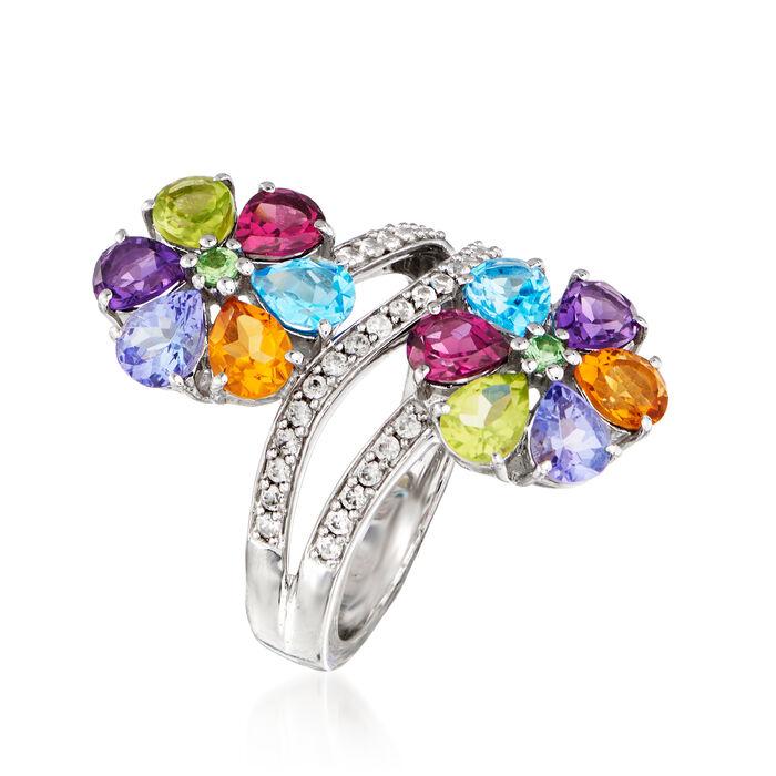 4.18 ct. t.w. Multi-Gemstone Flower Ring in Sterling Silver