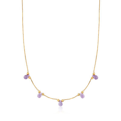 Italian 4.50 ct. t.w. Amethyst Drop Station Necklace in 14kt Yellow Gold, , default