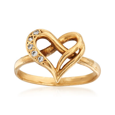 C. 1980 Vintage 10kt Yellow Gold Heart Ring With Diamond Accents, , default