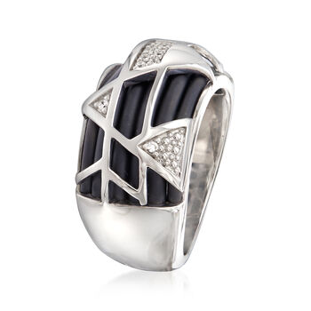 """Belle Etoile """"Trilogy"""" Black Rubber Ring with CZ Accents in Sterling Silver, , default"""