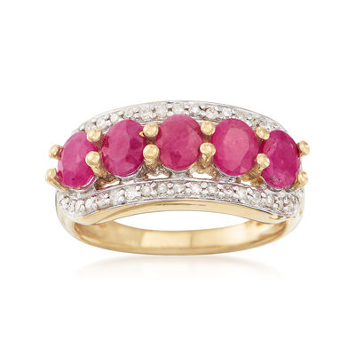 2.50 ct. t.w. Ruby and .25 ct. t.w. Diamond Ring in 14kt Gold Over Sterling, , default
