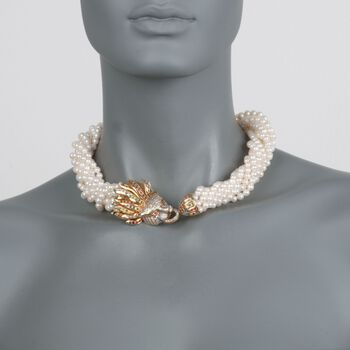 "C. 1990 Vintage 5mm Cultured Pearl and 2.00 ct. t.w. Multi-Stone Lion Necklace in 14kt Yellow Gold. 18.5"", , default"