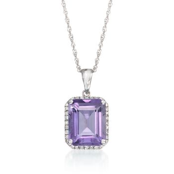 "3.10 Carat Amethyst and .13 ct. t.w. Diamond Pendant Necklace in 14kt White Gold. 18"", , default"