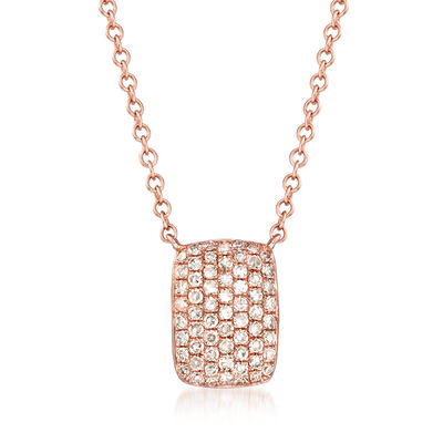 .22 ct. t.w. Pave Diamond Square Necklace in 14kt Rose Gold, , default