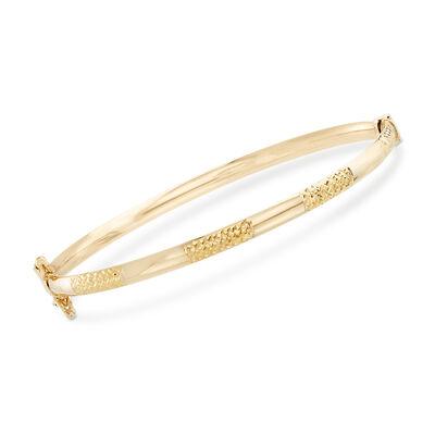 14kt Yellow Gold Alternating Textured and Polished Bangle Bracelet, , default