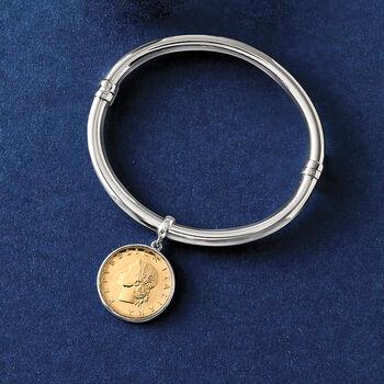 Italian Genuine Lira Coin Charm Bangle Bracelet in Sterling Silver