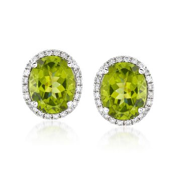 5.00 ct. t.w. Peridot and .31 ct. t.w. Diamond Earrings in 14kt White Gold, , default