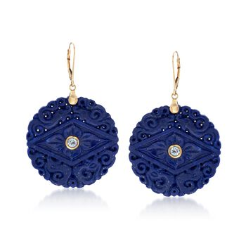 Lapis and .60 ct. t.w. Blue Topaz Drop Earrings in 14kt Yellow Gold, , default