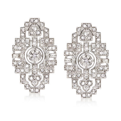 1.00 ct. t.w. Round and Baguette Diamond Art Deco-Style Drop Earrings in Sterling Silver