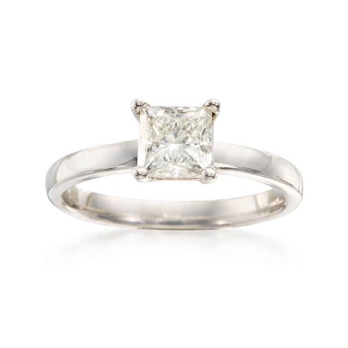 1.03 Carat Certified Diamond Engagement Ring in 14kt White Gold. Size 6.5