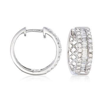 "1.00 ct. t.w. Baguette and Round Diamond Three-Row Hoop Earrings in 14kt White Gold. 5/8"", , default"