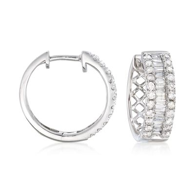 1.00 ct. t.w. Baguette and Round Diamond Three-Row Hoop Earrings in 14kt White Gold, , default